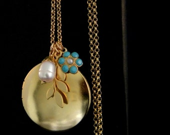 Long Gold Locket Leaf Freshwater Pearl Turquoise Necklace