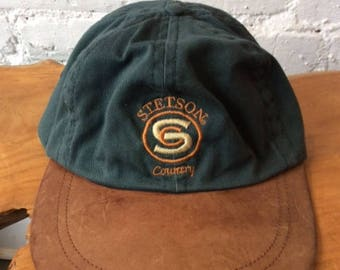 Vintage Stetson Country Leather Hat / Adjustable Baseball Cap / Canvas / 90s 1990s