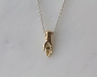 Open Hand Necklace in solid 14k yellow gold / wax carved hand / Hand pendant / Gold Hand charm / Hand amulet / Palmistry Hand