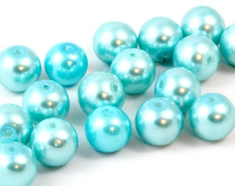10mm Light Blue Glass Pearls. (20) Sky Blue Pearls. Baby Blue Pearls for Making Pearl Necklace. Round Beads. Pearl Beads. Glass Beads