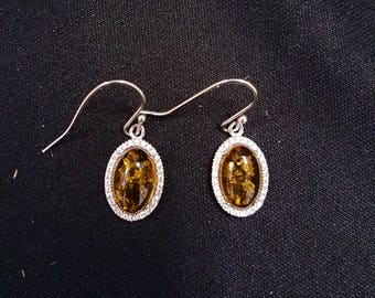 Baltic Amber Oval Dangle Earrings-sterling silver