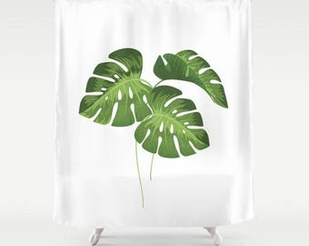 "Shower Curtain - Monstera Leaves - 71""x74"", Home, Bathroom, Bath, Dorm, Girl, Kids, Christmas, Decor, White, Green, Gift, Abstract, Tropical"