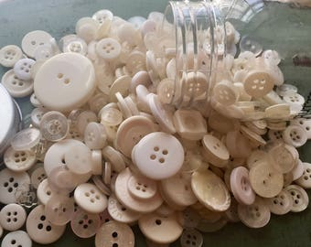 """Hand Dyed Buttons, """"Antique White"""", Mixed Buttons, 200 Buttons, Plastic Mini Mason Jar by Buttons Galore, 2 & 4 Hole Assortment"""