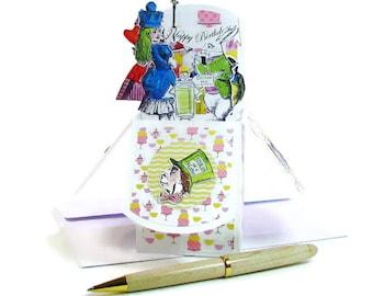 Alice au pays des merveilles carte d'anniversaire, Mad Tea Party carte, Invitation non-anniversaire, joyeux anniversaire, personnalisée Pop Up carte, très joyeux non-anniversaire