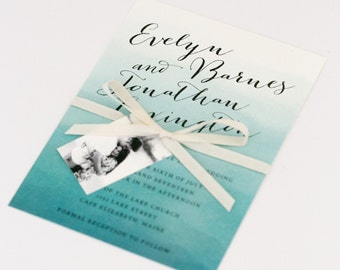 Ombre Wedding Invitations - Teal Blue Ombre – Romantic Timeless Calligraphy Wedding Invitation (Evelyn Suite)