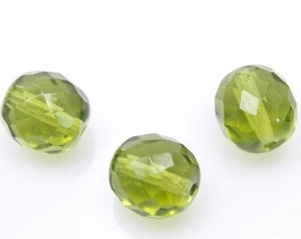 Fire polished, 10mm, 20 pcs, 1.1mm hole, Olivine, Faceted round, Czech glass beads, FP10-30