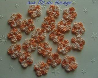 Crochet flowers, 2 cm, set of 20 orange tone cotton, applique