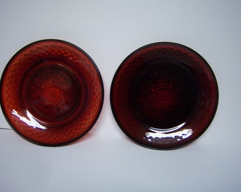 """Vintage Cris D'Arques Durand, Ruby Red Arcoroc Luminarc, Two 8"""" Salad Plates, Child's Plates,  Luncheon Plates, Press Cut Glass, Made France"""