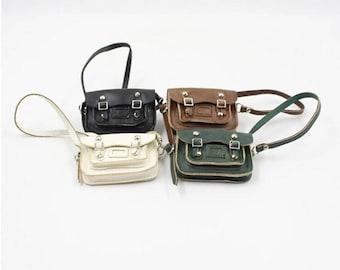 PU Leather Bag for 1/6 BJD Dolls,Mini Key Pouch Handbag Shoulder Bag for Blythe/Azone Dolls,Key Closure,Bag for Blythe