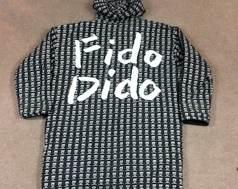 VTG Fido Dido Reversible Coat/Jacket Black/White All Over Print Adult XL 80s 7UP
