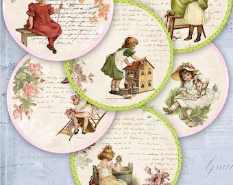 75% OFF SALE Digital collage Vintage Children C026 - printable download digital tags digital vintage image atc cards vintage printables baby