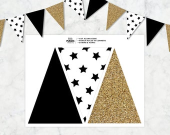 Black White Gold Printable Pennant Flag Banner, Black White & Gold Star Printable Banner, Black and Gold Party DIY Printable Decor Banner