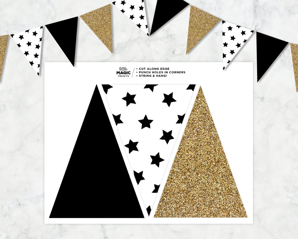 black white gold printable pennant flag banner black white. Black Bedroom Furniture Sets. Home Design Ideas