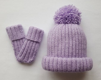 Hand Knitted Baby Hat & Mitts Rib Knit Set with Large Pom Pom | Baby Gift | Hand Made | Baby Girl