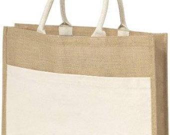 Burlap Tote Bag With Sleeve Pocket, Burlap Tote, Jute Tote, Reusable Bag, Bag, Tote, Jute, Burlap, Hamper Beach Bag, Beach Bag, Eco Friendly