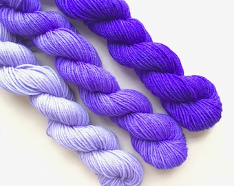 ULTRA VIOLET fade set of hand dyed yarn mini skeins. Gradient ombre SET of 3 skeins. Fingering yarn merino wool. Deep to light violet yarn