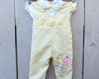 Vintage Baby Onesie Overalls Pinstripe Yellow White Elephant Birds Embroidery