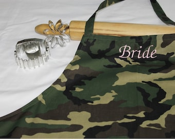 Bride Apron with Ruffle - Camouflage and Pink