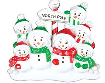 North Pole Family of 7 Personalized Christmas Ornament - Personalized Names