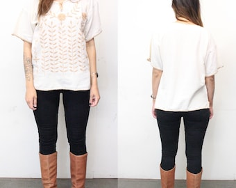 70s Bohemian Embroidered Top