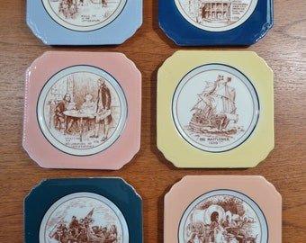 Set of 6 vintage Syracuse AMERICAN HISTORY scene coasters, different color rims