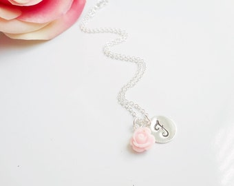 Choose Your Colors Personalized Rose Flower Girl Necklace Flower Girl Gift Girls Peronalized Rose And Letter Charm Necklace