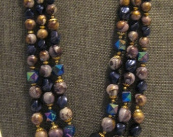 Vintage Blue, Purple, and Gold Three Tiered Plastic Beaded Necklace