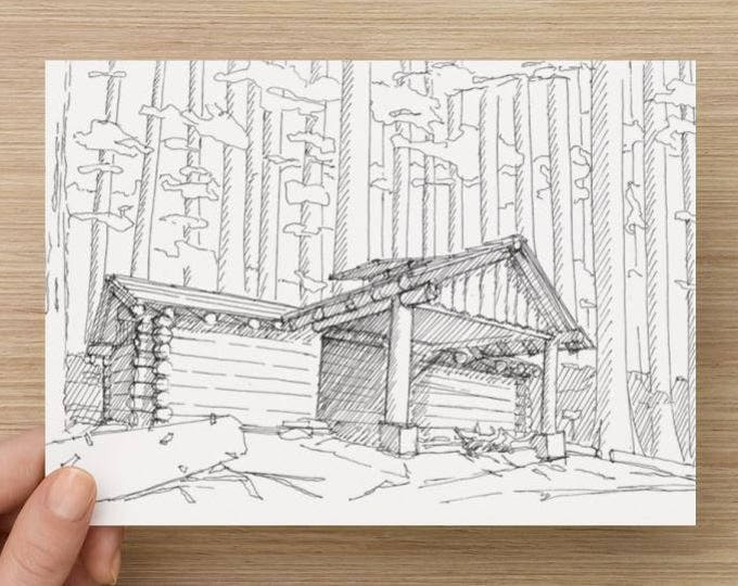 Ink Sketch of Backpacking Shelter Near Sol Duc Falls in Olympic National Park - Drawing, Art, Cabin, Woods, Trees, Pen and Ink, 5x7, 8x10