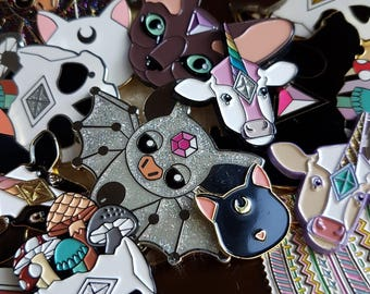 MYSTERY Pin Pair - 2 Enamel Pin set - FACTORY SECONDS