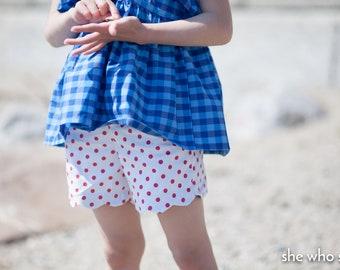 Heat Wave slim fitting scalloped shorts with hem facing and elastic waist - sizes 2-12