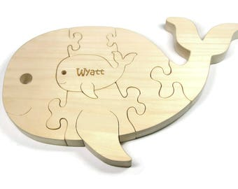 Wooden Puzzle, Montessori Baby Gift, Wooden Whale Toy, Whale Puzzle, Whale Toy, Personalized Toy, Personalized Puzzle, Montessori Toy