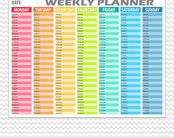Hourly Weekly Planner Printable. Daily Planning Printable. Hourly Weekly Planner Hour Columns. PDF Planner Printable. Organizer Planner.
