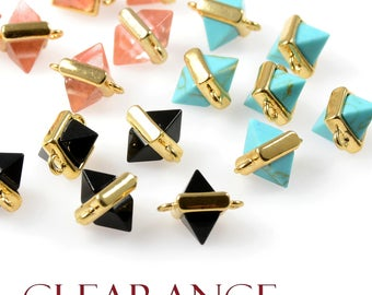 CLEARANCE - 4 PCS Gemstone Pointed Connector, Black, Turquoise, Rose Quartz, Tarnish Resistant Gold Plating, Framed Connectors