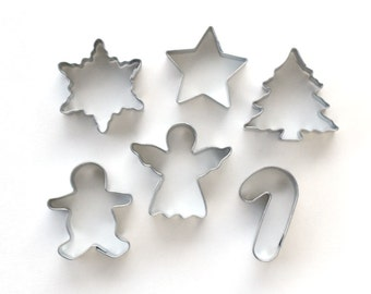 Mini Christmas Cookie Cutter Set, Mini Holiday Cookie Cutters, Small Christmas Cookie Cutters, Christmas Piecrust Cutters (Set of 6)