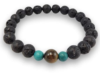 Lava, Tiger's Eye, and Turquoise Wrist Mala CL-8