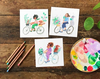 Set of 3 Square Postcards Bikes Dogs and Plants