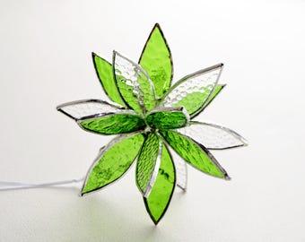 """Green 3D Stained Glass Suncatcher. Flower. Flower of Life - Swirl. 5"""""""