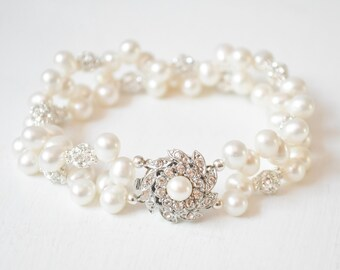 Freshwater Pearl Bridal Bracelet, Art Deco Wedding Bracelet, Bridal Jewelry