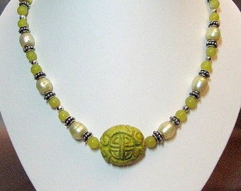 Yellow Carved Chalk Turquoise, Jade, Pearl and Silver Necklace and Earring Set OOAK