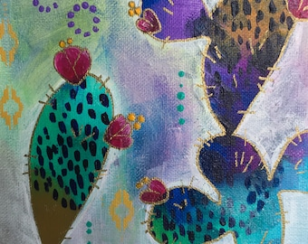 Un deux - cactus abstrait intuitif peinture à l'acrylique sur toile