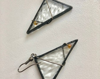 Earrings Stained Glass, Glass Earrings, Geometric Art, Geometric Glass Jewelry, Geometric Trigon Earring,Gift for mom,Stained Glass Triangle
