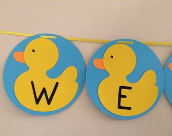 Baby shower rubber duck welcome banner
