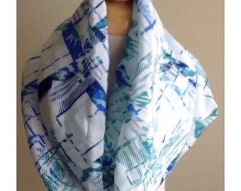 "Infinity Scarf-Blue Green Abstract-6"" by 56""-Handmade USA-Tween Ladies"
