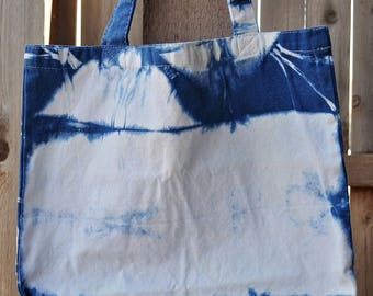 Tote Bag - Indigo Shibori Dyed Canvas Tote Bag (Purse, Bag, Bohemian, Gypsy)