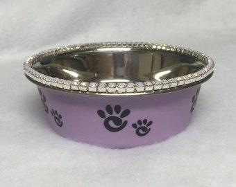 Sugarlicious Pets™ Purple Lavender OPALS~ SET of 2 - Crystal Rhinestone Diamante~  1/2 Pint Dog Cat Pet Bowl Feeder Food Water Dish USA