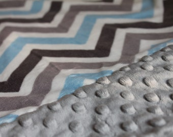 Travel Pillowcase - Light Blue, Grey, and Silver Chevron Print Minky with Silver Dimple Dot Minky Border - Toddler or Travel Pillow