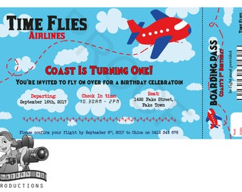 Airplane Ticket Boarding Pass Invites