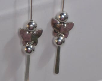 NEW Sterling Silver 50mm Stack-a-Bead Fishhook Earrings with Sterling Silver Butterfly Beads