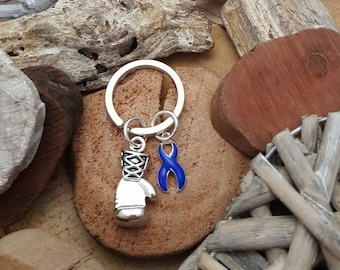 DB-3 Colon Cancer Awareness Child Abuse Survivor Alopecia Boxing Glove Keychain for Him Keychain For Her Keep Fighting