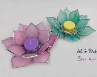 Lotus Flower, Candle Holder Stained Glass Flower, Candlestick,  Centerpiece, Zen Accessory, Zen Design, Unscented tealights
